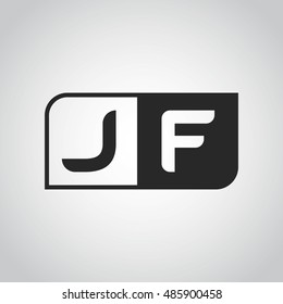 Logo letter JF with two different sides. Negative or black and white vector template design