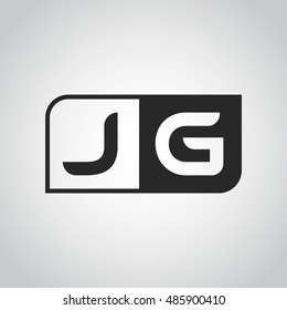 Logo letter JG with two different sides. Negative or black and white vector template design