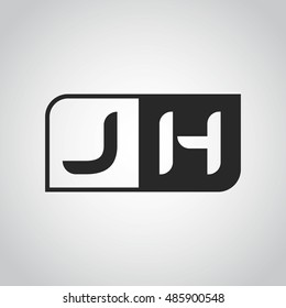 Logo letter JH with two different sides. Negative or black and white vector template design