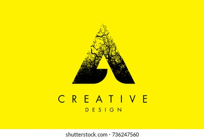 A Logo Letter Made From Black Tree Branches. Tree Letter Design with Minimalist Creative Style.