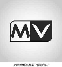 Logo letter MV with two different sides. Negative or black and white vector template design