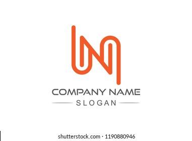logo letter n flat line