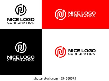 logo with the letter N, telecommunications logotype, stamp and icon, circle, and ellipse