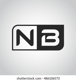 Logo letter NB with two different sides. Negative or black and white vector template design