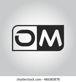 Logo letter OM with two different sides. Negative or black and white vector template design