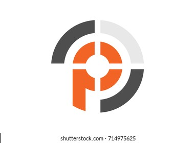 logo letter p military target icon