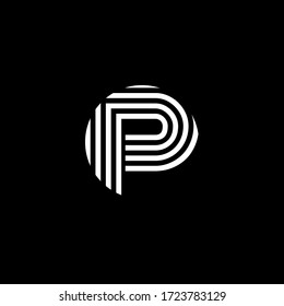 Logo Letter P Minimalist Curve Monogram Typography in black and white color.