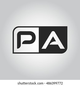 Logo letter PA with two different sides. Negative or black and white vector template design