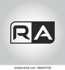 Logo letter RA with two different sides. Negative or black and white vector template design