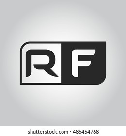 Logo letter RF with two different sides. Negative or black and white vector template design
