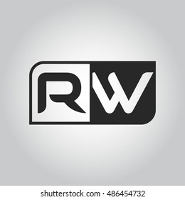 Logo letter RW with two different sides. Negative or black and white vector template design