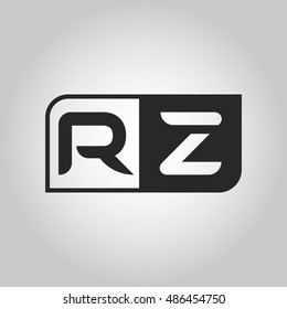 Logo letter RZ with two different sides. Negative or black and white vector template design