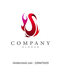 logo letter s, logo s and fire, hot icon