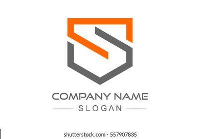 logo letter s shield icon, symbol