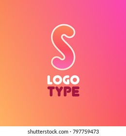 Logo with Letter S. Vector Illustration on style gradient background.