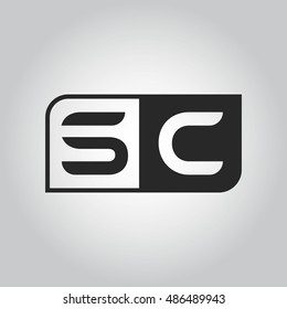 Logo letter SC with two different sides. Negative or black and white vector template design