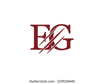 the logo of the EG letter with the style of scratching the incision