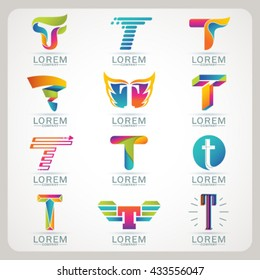 Logo letter T element and Abstract web Icon and globe vector symbol. Unusual sign icon and sticker set. Graphic design easy editable for Your design. Modern logotype icon.