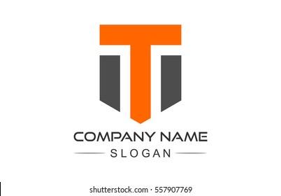 logo letter t shield icon, symbol and logo