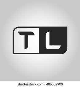 Logo letter TL with two different sides. Negative or black and white vector template design