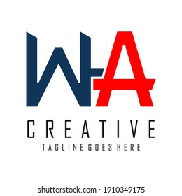 logo letter W and A in blue and red
