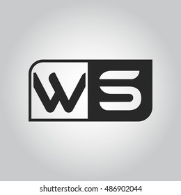 Logo letter WS with two different sides. Negative or black and white vector template design