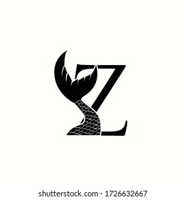 logo letter z with icon fish tail vector design