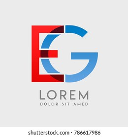 "EG logo letters with ""blue and red"" gradation"