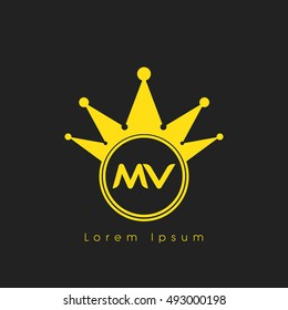 Logo letters M and V yellow crowned. Crown logotype design template on black background
