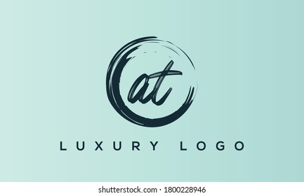 logo letters monogram icon alphabet AT or TA