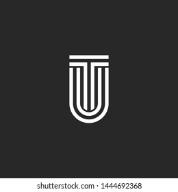 Logo letters TU or UT initials monogram, two letters T and U together, creative typography design element