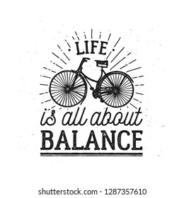 Logo life is all about balance. Bicycle labeled