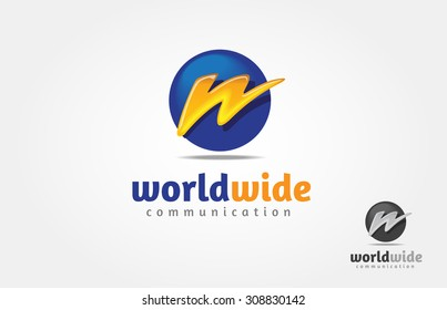Logo of  lighting in style of W, electric charge icon vector symbol illustration