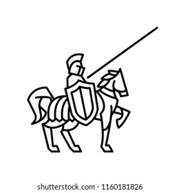 the logo of the lines of a knight on horse on white background