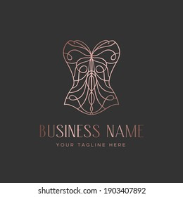 Logo for a lingerie boutique, wedding Studio, or fashion designer's salon. Vintage lace corset with a butterfly