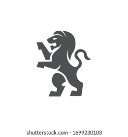 Logo Lion Filled Icon Black and White Vector Graphic