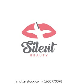 """Logo with lip and finger icon attached to the lips. The logo has to instruct """"silence""""."""