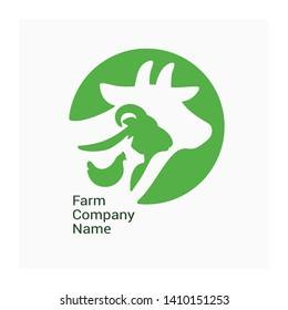 Logo for livestock company, stock raising. Round symbol with cow, pig, ram and chicken. Green sign for ranching. Vector illustration of farm animals. Label for Bio products, farmers fair or market.