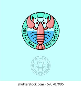 Logo Lobster. Seafood restaurant emblem. Lobster with letters in the circle.