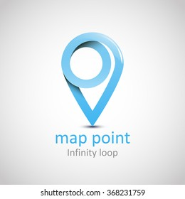 Logo Location map symbol vector design template. Geo point logotype. Looped impossible infinite shape geographic icon. Map pointer icon. GPS location symbol. EPS 10