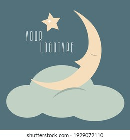logo, logotype design, star and moon. Can be used for poster and banner, children's book illustration, postcard, gift card, print for t-shirt, sticker, label, logo kid's clothes vector