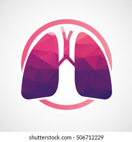 Logo Love Your Lungs In Beauty Lowpoly Geometric Illustration