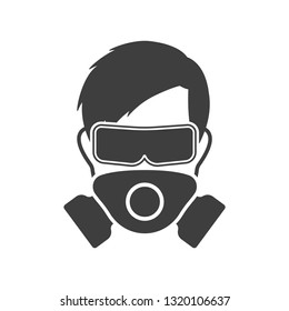 Logo man in a mask and protective glasses - personal protective equipment. Vector on white background