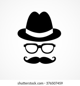 Logo with a man in a stylish hat with a mustache and glasses,Hipster logo
