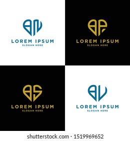 Logo Manages modern BN, BP, BS, BV graphic design Inspiring logo designs for all companies. -Vectors