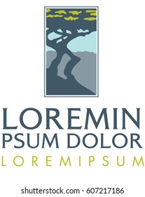 Logo mark and text of the silhouette of a cypress tree up on a hill.