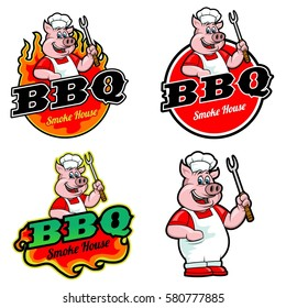 logo and mascot of pig for bbq