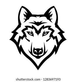 logo mascot wolf head line art