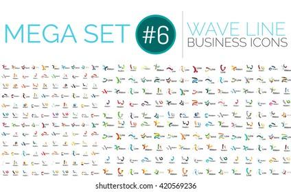 Logo mega collection - wave business logotypes