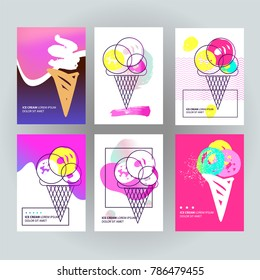 Logo in menu for different kind cold sweet. Color image for a party, shop, cafe, restaurant. Freehand drawn sweet ice cream cone. Modern gradient banner design template. Sketch vector illustration.